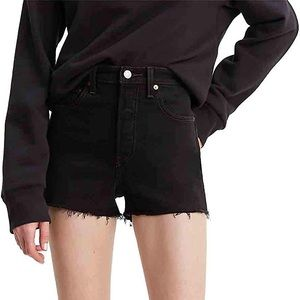 Levi's High Waisted Black Ribcage Short